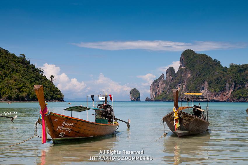 Beautiful longtail boats on Phi-Phi island, Thailand