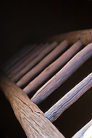 A ladder leading inside of a historical structure in Santa Fe, New Mexico.