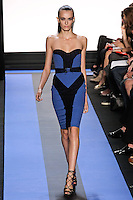 Erjona walks runway in a cyan blue crepe strapless corset seamed cocktail dress, by Monique Lhuillier, from the Monique Lhuillier Spring 2012 collection fashion show, during Mercedes-Benz Fashion Week Spring 2012.