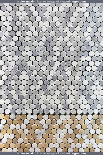 Sample of round mosaic bathroom tiles
