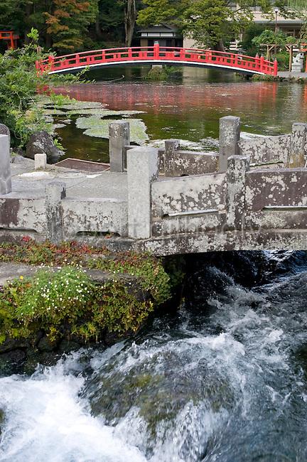 Photo shows the sacred pond at Fujisan Hongu Sengen Taisha shrine in Fujinomiya, Shizuoka Prefecture Japan on 01 Oct. 2012.  Photographer: Robert Gilhooly