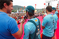 CHINA, Sanya. 4th February 2012. Volvo Ocean Race. Leg 3 Arrivals. On stage with Team Telefonica.