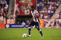 Miller Bolaños (17) of CD Chivas USA. The New York Red Bulls and CD Chivas USA played to a 1-1 tie during a Major League Soccer (MLS) match at Red Bull Arena in Harrison, NJ, on May 23, 2012.