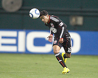 Cristian Castillo #12 of D.C. United nods the ball forward during a US Open Cup match against F.C. Dallas on April 28 2010, at RFK Stadium in Washington D.C. United won 4-2.