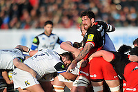 Jim Hamilton of Saracens in action at a maul. Aviva Premiership match, between Saracens and Bath Rugby on January 30, 2016 at Allianz Park in London, England. Photo by: Patrick Khachfe / Onside Images