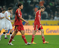 FUSSBALL   1. BUNDESLIGA  SAISON 2011/2012   18.  Spieltag   20.01.2012 Borussia Moenchengladbach   - FC Bayern Muenchen v Enttaeuschung FC Bayern; Thomas Mueller (re) und Mario Gomez (