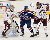 Parker Milner (BC - 35), Ryan McGrath (UML - 10), Patrick Wey (BC - 6) - The Boston College Eagles defeated the visiting University of Massachusetts Lowell River Hawks 6-3 on Sunday, October 28, 2012, at Kelley Rink in Conte Forum in Chestnut Hill, Massachusetts.