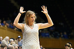 07 January 2016: Wake Forest head coach Jen Hoover. The Duke University Blue Devils hosted the Wake Forest University Demon Deacons at Cameron Indoor Stadium in Durham, North Carolina in a 2015-16 NCAA Division I Women's Basketball game. Duke won the game 95-68.