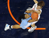 CHARLOTTESVILLE, VA- JANUARY 5: Tierra Ruffin-Pratt #44 of the North Carolina Tar Heels shoots over Chelsea Shine #50 of the Virginia Cavaliers during the game on January 5, 2012 at the John Paul Jones arena in Charlottesville, Virginia. North Carolina defeated Virginia 78-73. (Photo by Andrew Shurtleff/Getty Images) *** Local Caption *** Chelsea Shine;Tierra Ruffin-Pratt