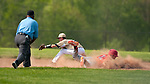 BEACON FALLS,  CT-051817JS33-Wolcott's Jeff Nicol  (11) dives safely back to second while Woodland's Jarrett Allen (11) takes the throw during their game Thursday at Woodland Regional High School in Beacon Falls. <br /> Jim Shannon Republican-American
