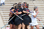 20 February 2016: Florida's Sydney Pirreca (behind, right) celebrates her first goal with Shayna Pirreca (7), Sammi Burgess (2) and other teammates. The University of North Carolina Tar Heels hosted the University of Florida Gators in a 2016 NCAA Division I Women's Lacrosse match. Florida won the game 16-15.