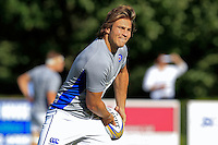 Max Clark of Bath Rugby in action during the pre-match warm-up. Pre-season friendly match, between Yorkshire Carnegie and Bath Rugby on August 13, 2016 at Ilkley RFC in Ilkley, England. Photo by: Ian Smith / Onside Images