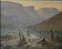 Discovery of the Two Storey Cliff House in Mancos Canyon by the Jackson Party in 1874, painting, 1936, oil on canvas, by William Henry Jackson at the age of 93, in the Chapin Mesa Archeological Museum, in Mesa Verde National Park, Montezuma County, Colorado, USA. Jackson was a pioneer photographer who was working in the mountains at Mesa Verde when he met John Moss, a rancher and explorer, who showed him the ancient dwellings in the cliffs. Jackson took the first photographs of the ruins in 1874. Mesa Verde is the largest archaeological site in America, with Native Americans inhabiting the area from 7500 BC to 13th century AD. It is listed as a UNESCO World Heritage Site. Picture by Manuel Cohen