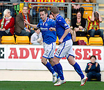 St Johnstone v Partick Thistle...28.09.13      SPFL<br /> Steven MacLean celebrates his goal with Brian Easton<br /> Picture by Graeme Hart.<br /> Copyright Perthshire Picture Agency<br /> Tel: 01738 623350  Mobile: 07990 594431