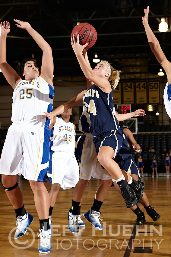 SAN ANTONIO, TX - JANUARY 6, 2011: The St. Edward's University Hilltoppers vs. the St. Mary's University Rattlers Women's Basketball at the Bill Greehey Arena. (Photo by Jeff Huehn)