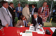 August 26th, 1984. Picture of world Formula 1 Champion, Jackie Stewart and Mr. Chandon, CEO of Moett and Chandon Champagne.