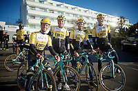 The Team Lotto Jumbo Belgians (from L to R): Tom Van Asbroeck, Kevin De Weert, Maarten Wynants &amp; Sep Vanmarcke<br /> <br /> January 2015, Moj&aacute;car, Spain