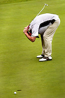 D'oh!&amp;#xA;Jesse Sitterud reacts to missing a putt on the 18th hole during the Bremerton City Amateur Tournament at Gold Mountain. Sitterud led all players the previous day, but slipped quickly down the ranks.<br />