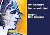 Quote:  In youth we learn; in age we understand.  By Marie Von Ebner-Eschenbach.  Meme.