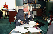 Washington, D.C. - October 18, 2001 -- United States Senator Edward M. &quot;Ted&quot; Kennedy (Democrat of Massachusetts) works with his staff in his United States Capitol &quot;hideaway&quot; office in Washington, D.C. while their regular office in the Russell Senate Office Building is being checked for Anthrax on October 18, 2001..Credit: Ron Sachs / CNP.