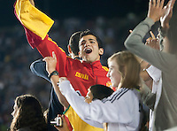 Real Madrid fan celebrates during the second half of the friendly game between LA Galaxy and Real Madrid at the Rose Bowl in Pasadena, CA, on August 7, 2010. LA Galaxy 2, Real Madrid 3.