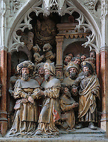 Hermogenes bound, delivered and pardoned, from the series of the life of Saint James the Greater, 1511, high relief on the West side of the South transept in the Basilique Cathedrale Notre-Dame d'Amiens or Cathedral Basilica of Our Lady of Amiens, built 1220-70 in Gothic style, Amiens, Picardy, France. Amiens Cathedral was listed as a UNESCO World Heritage Site in 1981. Picture by Manuel Cohen