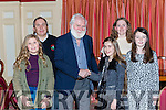 John Sheehan the Dubliners musician prestented the winners of the National school writing competition winners their prizes at  the Castleisland Rugby club Con Houlihan Christmas concert in the River Island Hotel on Saturday night l-r: Brian O'Sullivan,