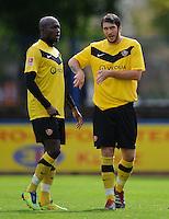 Fussball 2 Bundesliga Saison 2011/2012 Testspiel Dynamo Dresden - FC Grimma V.l.: Mickael POTE (Dynamo Dresden) im Gespraech mit Pavel FORT (Dynamo Dresden).