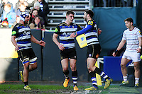 Matt Banahan of Bath Rugby celebrates his first try of the match with team-mates. Aviva Premiership match, between Bath Rugby and London Irish on March 5, 2016 at the Recreation Ground in Bath, England. Photo by: Patrick Khachfe / Onside Images