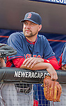 8 March 2015: Boston Red Sox pitcher Brian Johnson watches awaits the start of batting practice prior to a Spring Training game against the New York Mets at Tradition Field in Port St. Lucie, Florida. The Mets fell to the Red Sox 6-3 in Grapefruit League play. Mandatory Credit: Ed Wolfstein Photo *** RAW (NEF) Image File Available ***