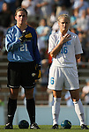 27 September 2009: North Carolina's Hannah Daly (21) and Rachel Givan (16). The University of North Carolina Tar Heels defeated the Wake Forest University Demon Deacons 4-0 at Fetzer Field in Chapel Hill, North Carolina in an NCAA Division I Women's college soccer game.