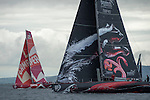 CAMPER with Emirates Team New Zealand chases Puma. In Port Race Galway Ireland. Volvo Ocean Race 2011-2012. 7/7/2012