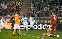 Chicago midfielder Baggio Husidic (9) celebrates after scoring Chicago's first goal.  The Chicago Fire defeated the Houston Dynamo 2-0 at Toyota Park in Bridgeview, IL on April 24, 2010.