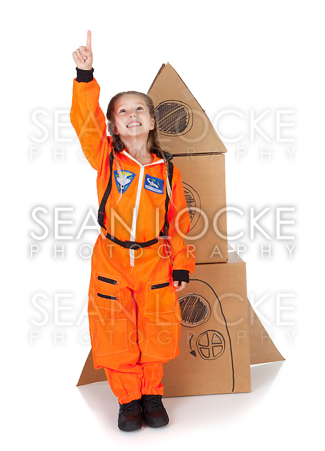 Little girl costumed as an Astronaut.  Isolated on white background.