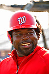 13 March 2008: Washington Nationals' first baseman Dmitri Young awaits his turn in the batting cage prior to a Spring Training game against the Florida Marlins at Space Coast Stadium, in Viera, Florida. The Marlins defeated the Nationals 2-1 in the Grapefruit League matchup...Mandatory Photo Credit: Ed Wolfstein Photo