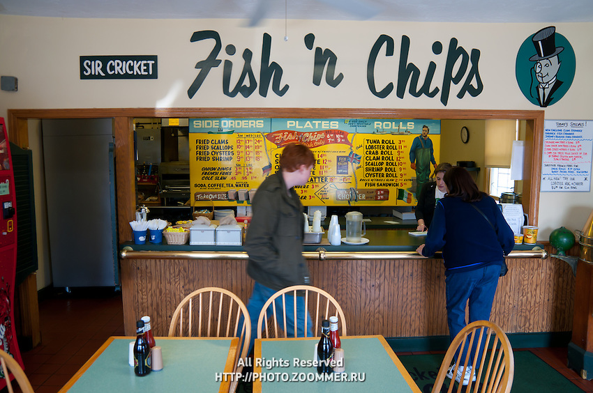 Fish And Chips restaurant interior Chatham, Cape Cod