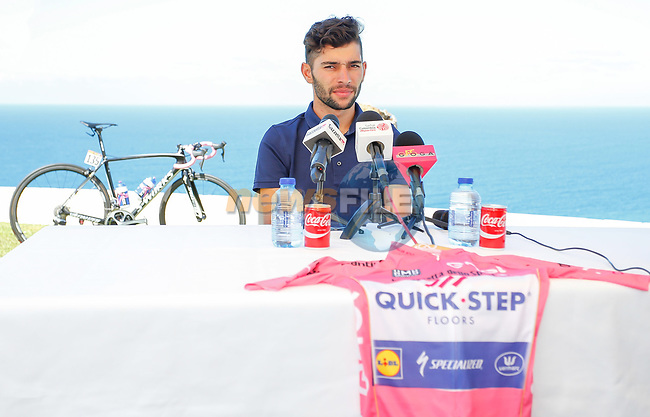 Race leader Maglia Rosa Fernando Gaviria (COL) Quick-Step Floors press conference in Palermo during the first rest day of the 100th edition of the Giro d'Italia 2017, Altavilla Milicia , Palermo, Sicily, Italy. 8th May 2017.<br /> Picture: LaPresse/Simone Spada | Cyclefile<br /> <br /> <br /> All photos usage must carry mandatory copyright credit (&copy; Cyclefile | LaPresse/Simone Spada)