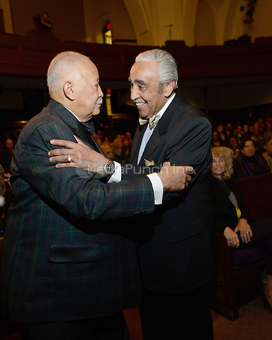NEW YORK, NY - APRIL 3: Hon. David N. Dinkins, Charles B. Rangel pictured as David N. Dinkins, 106th Mayor of the City of New York, receives the Dr. Phyllis Harrison-Ross Public Service Award for a lifetime of public service at the New York Society of Ethical Culture in New York City on April 3, 2014. Credit: Margot Jordan/MediaPunch