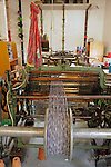 Europe, Ireland, Avoca. Avoca Handweavers Mill, County Wicklow. Woollen handweaving loom.