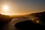 Sunset view of Gualala, Calif and the Gualala River from Gualala Point Regional Park on July 3, 2011.