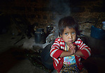 Three-year old Nyda Diaz Vasquez in her home in Tuixcajchis, a small Mam-speaking Maya village in Comitancillo, Guatemala.