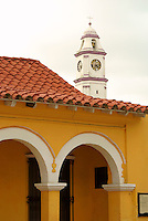 Arches and parish church steeple in the Spanish colonial river town of Tlacotalpan, Veracruz, Mexico. Tlacotlapan was made a UNESCO World Heritage Site in 1998.