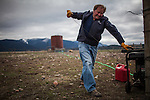 Former Montana Governor Brian Schweitzer tries to start a generator to pump water to his horses on one of his ranches near Ovando, Montana, May 7, 2014.<br /> CREDIT: Max Whittaker/Prime for The Wall Street Journal<br /> BRIAN