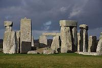 Horseshoe of Sarsen Trilithons; circle of Sarsen stones with lintels, Stonehenge, Neolithic and Bronze Age megalithic monument, 3050 - 1500 BC, Salisbury, Wiltshire, England, UK. Picture by Manuel Cohen