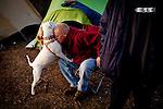 "Billy Hicks hugs ""Pink"" at the SafeGround camp in Sacramento, Calif., January 15, 2011."
