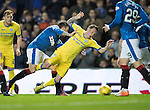 Rangers v St Johnstone&hellip;26.10.16..  Ibrox   SPFL<br />Danny Swanson is fouled by Josh Windass<br />Picture by Graeme Hart.<br />Copyright Perthshire Picture Agency<br />Tel: 01738 623350  Mobile: 07990 594431