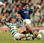 Craig Burley tackles Rino Gattuso in old firm match at Celtic Park