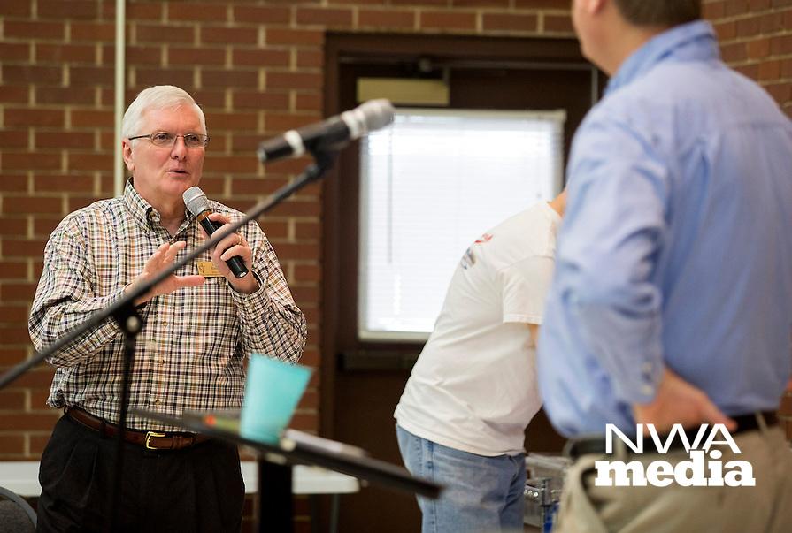 NWA Democrat-Gazette/JASON IVESTER<br /> Rev. David Bentley poses a question to Methodist Bishop Kenneth H. Carter Jr. of Florida on Monday, April 25, 2016, at First United Methodist Church in Rogers.