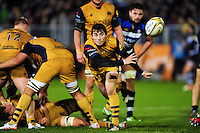 Rhodri Williams of Bristol Rugby passes the ball. Aviva Premiership match, between Bath Rugby and Bristol Rugby on November 18, 2016 at the Recreation Ground in Bath, England. Photo by: Patrick Khachfe / Onside Images