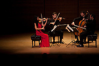 The Belcea Quartet with violinists Corina Belcea and Axel Schacher, Krzysztof Chorzelski on viola and Antoine Lederlin on Cello perform Beethoven in Zankel Hall at Carnegie Hall in New York, NY on November 7, 2012.